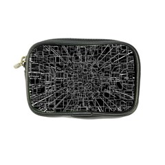 Black Abstract Structure Pattern Coin Purse