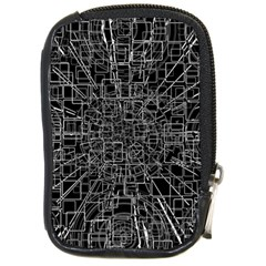 Black Abstract Structure Pattern Compact Camera Cases