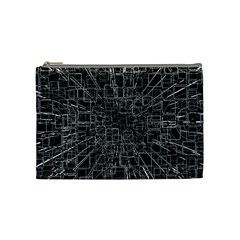 Black Abstract Structure Pattern Cosmetic Bag (medium)