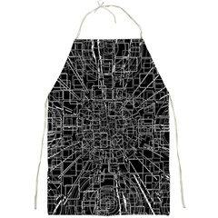 Black Abstract Structure Pattern Full Print Aprons