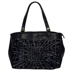 Black Abstract Structure Pattern Office Handbags