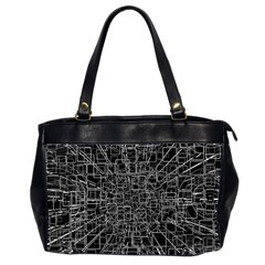 Black Abstract Structure Pattern Office Handbags (2 Sides)