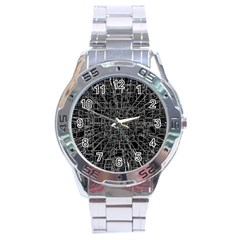 Black Abstract Structure Pattern Stainless Steel Analogue Watch