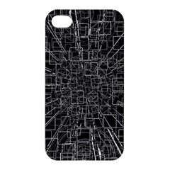Black Abstract Structure Pattern Apple Iphone 4/4s Premium Hardshell Case