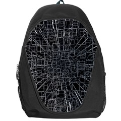 Black Abstract Structure Pattern Backpack Bag