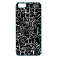 Black Abstract Structure Pattern Apple Seamless Iphone 5 Case (color)