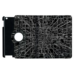 Black Abstract Structure Pattern Apple Ipad 3/4 Flip 360 Case