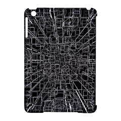 Black Abstract Structure Pattern Apple Ipad Mini Hardshell Case (compatible With Smart Cover)
