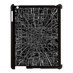 Black Abstract Structure Pattern Apple Ipad 3/4 Case (black)