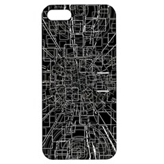 Black Abstract Structure Pattern Apple Iphone 5 Hardshell Case With Stand
