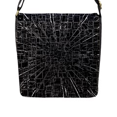 Black Abstract Structure Pattern Flap Messenger Bag (l)