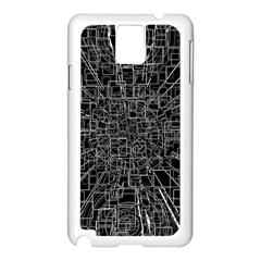 Black Abstract Structure Pattern Samsung Galaxy Note 3 N9005 Case (white)