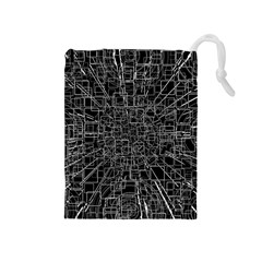 Black Abstract Structure Pattern Drawstring Pouches (medium)