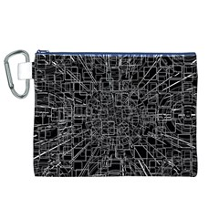 Black Abstract Structure Pattern Canvas Cosmetic Bag (xl)