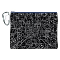 Black Abstract Structure Pattern Canvas Cosmetic Bag (xxl)