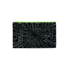 Black Abstract Structure Pattern Cosmetic Bag (xs)