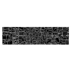Black Abstract Structure Pattern Satin Scarf (oblong)