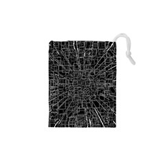 Black Abstract Structure Pattern Drawstring Pouches (xs)
