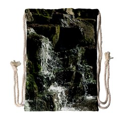 Water Waterfall Nature Splash Flow Drawstring Bag (large)