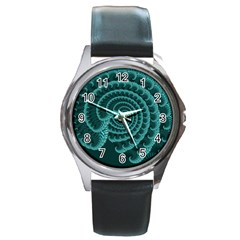 Fractals Form Pattern Abstract Round Metal Watch