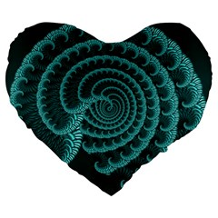 Fractals Form Pattern Abstract Large 19  Premium Heart Shape Cushions