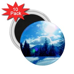 Ski Holidays Landscape Blue 2 25  Magnets (10 Pack)