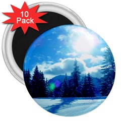 Ski Holidays Landscape Blue 3  Magnets (10 Pack)