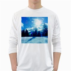 Ski Holidays Landscape Blue White Long Sleeve T Shirts