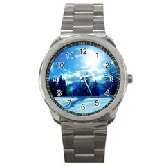 Ski Holidays Landscape Blue Sport Metal Watch