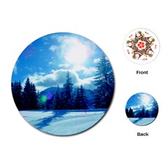 Ski Holidays Landscape Blue Playing Cards (round)