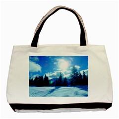 Ski Holidays Landscape Blue Basic Tote Bag