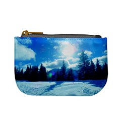 Ski Holidays Landscape Blue Mini Coin Purses