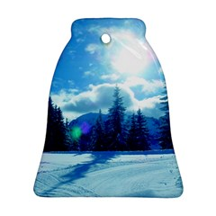 Ski Holidays Landscape Blue Bell Ornament (two Sides)