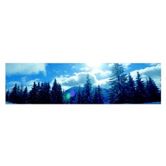Ski Holidays Landscape Blue Satin Scarf (oblong)
