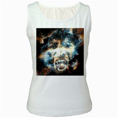 Universe Vampire Star Outer Space Women s White Tank Top