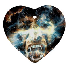 Universe Vampire Star Outer Space Heart Ornament (two Sides)