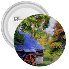 Landscape Blue Shed Scenery Wood 3  Buttons