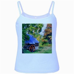 Landscape Blue Shed Scenery Wood Baby Blue Spaghetti Tank