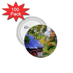 Landscape Blue Shed Scenery Wood 1 75  Buttons (100 Pack)
