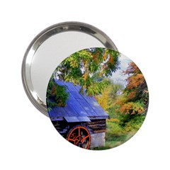 Landscape Blue Shed Scenery Wood 2 25  Handbag Mirrors