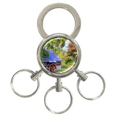 Landscape Blue Shed Scenery Wood 3 Ring Key Chains