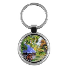 Landscape Blue Shed Scenery Wood Key Chains (round)