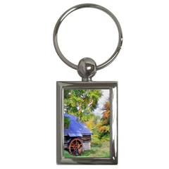 Landscape Blue Shed Scenery Wood Key Chains (rectangle)