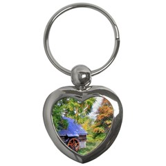 Landscape Blue Shed Scenery Wood Key Chains (heart)