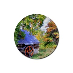 Landscape Blue Shed Scenery Wood Rubber Coaster (round)