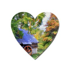 Landscape Blue Shed Scenery Wood Heart Magnet