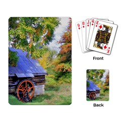 Landscape Blue Shed Scenery Wood Playing Card
