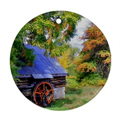 Landscape Blue Shed Scenery Wood Round Ornament (two Sides)