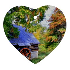Landscape Blue Shed Scenery Wood Heart Ornament (two Sides)