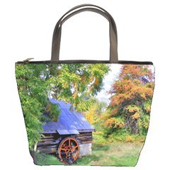 Landscape Blue Shed Scenery Wood Bucket Bags